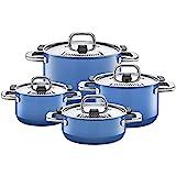 Silit Nature Blue Topfset Induktion 4-teilig, Kochtopf Set mit Metalldeckel, Silargan Funktionskeramik, Induktions Töpfe Set nickelfrei, blau