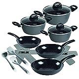 STONELINE® Ceramic Kochgeschirr-Set, 14-TLG, Keramik-Beschichtung, mit Glasdeckeln