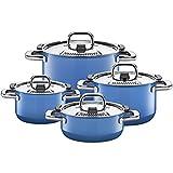 Silit Nature Blue Topfset 4-teilig, Töpfe mit Metalldeckel, Silargan Funktionskeramik,...